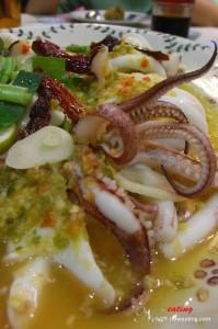 Steamed Fresh Squids Ala Thai